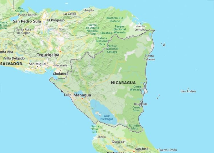 Nicaragua Map with Surrounding Countries