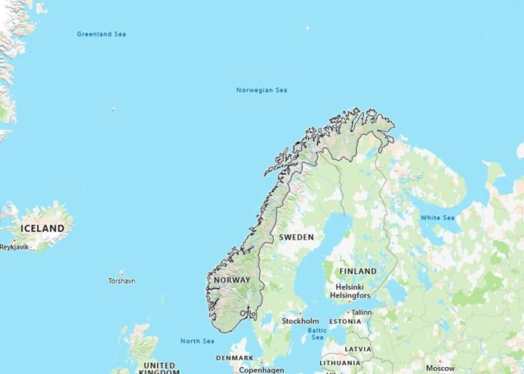 Norway Map with Surrounding Countries