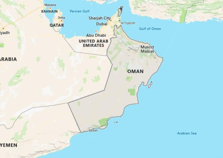 Oman Map with Surrounding Countries