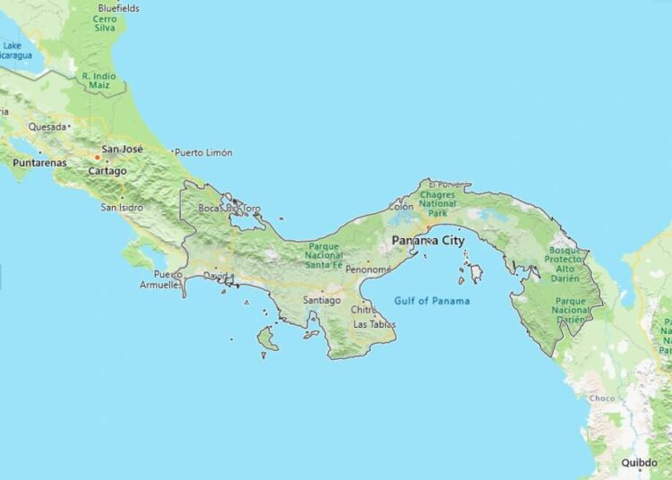 Panama Map with Surrounding Countries