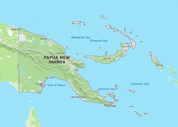 Papua New Guinea Map with Surrounding Countries