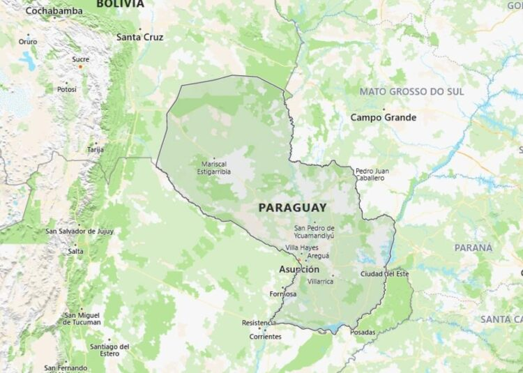 Paraguay Map with Surrounding Countries