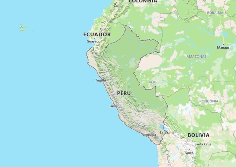 Peru Map with Surrounding Countries