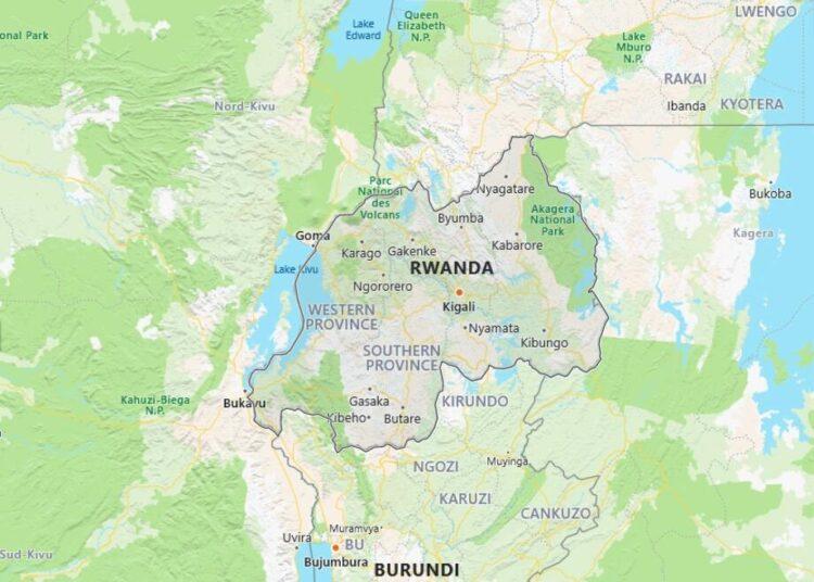 Rwanda Map with Surrounding Countries