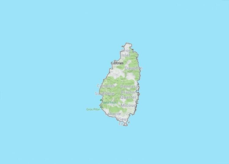 Saint Lucia Map with Surrounding Countries