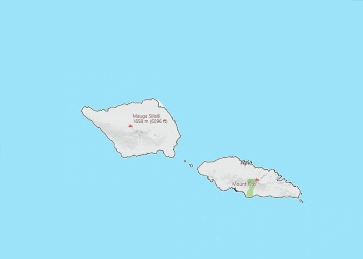 Samoa Map with Surrounding Countries