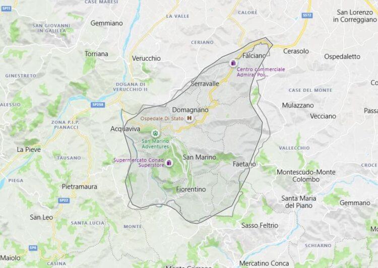 San Marino Map with Surrounding Countries
