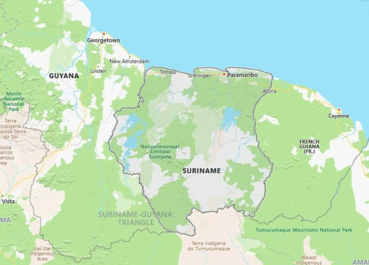 Suriname Map with Surrounding Countries