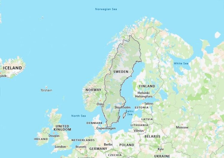 Sweden Map with Surrounding Countries