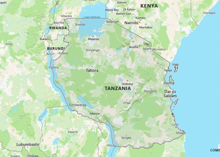 Tanzania Map with Surrounding Countries