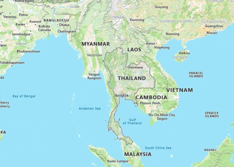 Thailand Map with Surrounding Countries