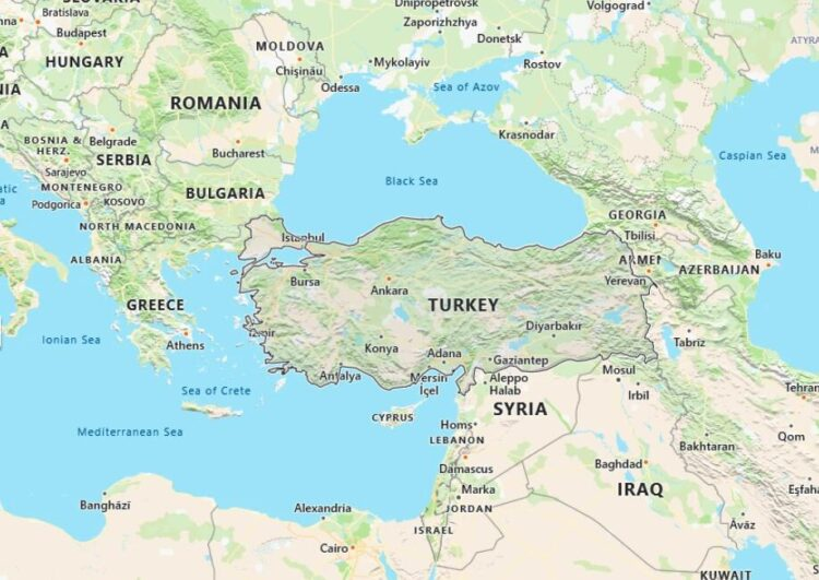 Turkey Map with Surrounding Countries