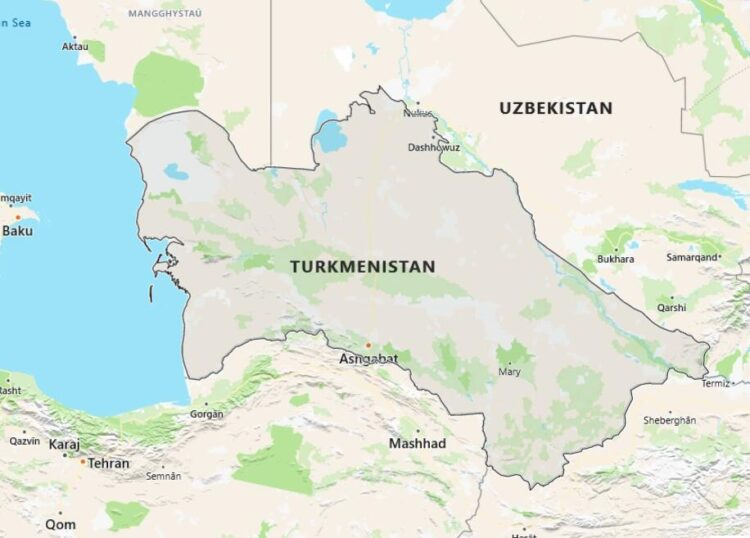 Turkmenistan Map with Surrounding Countries