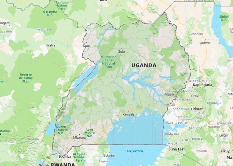 Uganda Map with Surrounding Countries