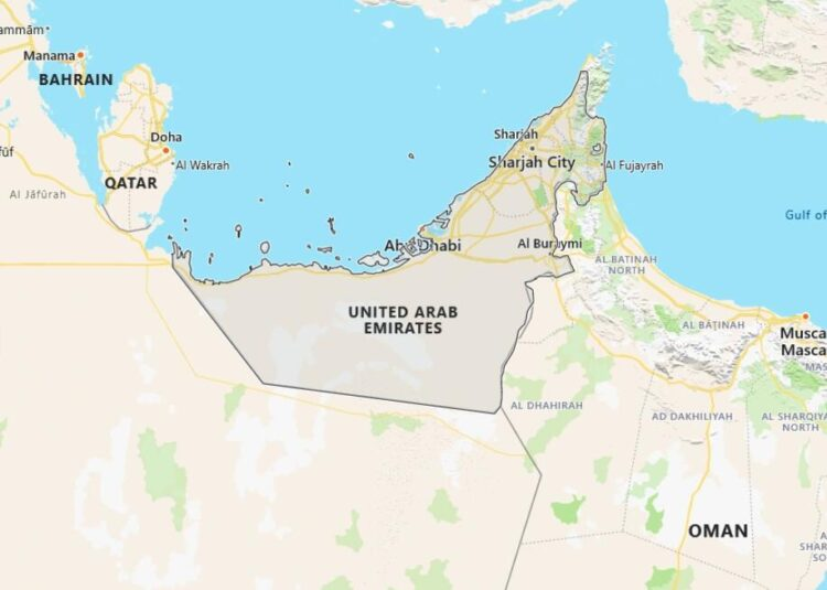 United Arab Emirates Map with Surrounding Countries