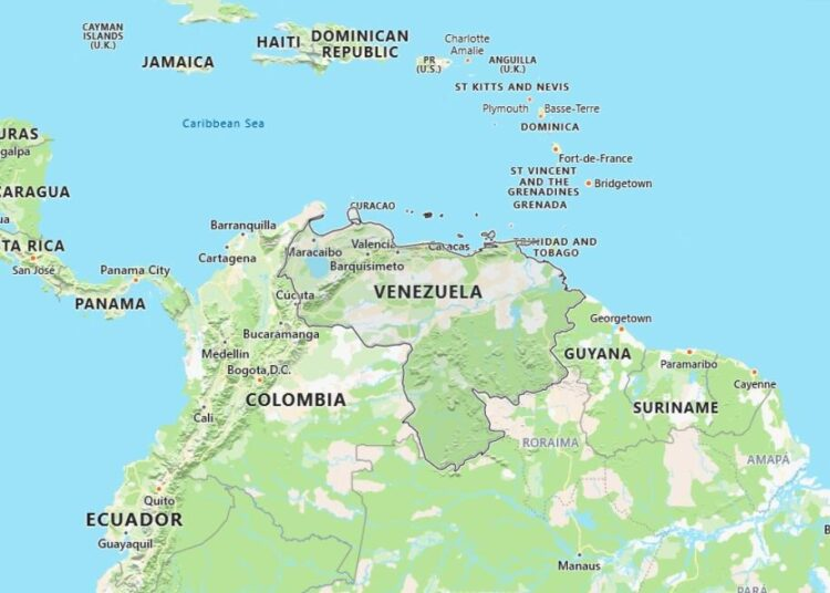 Venezuela Map with Surrounding Countries