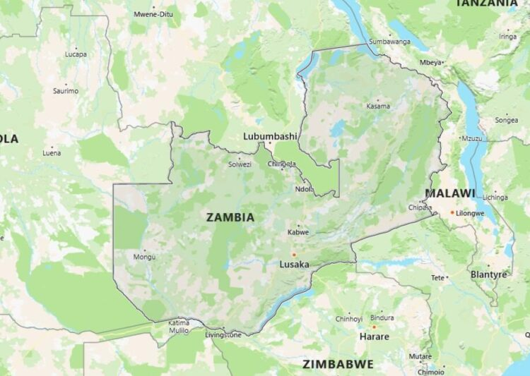 Zambia Map with Surrounding Countries