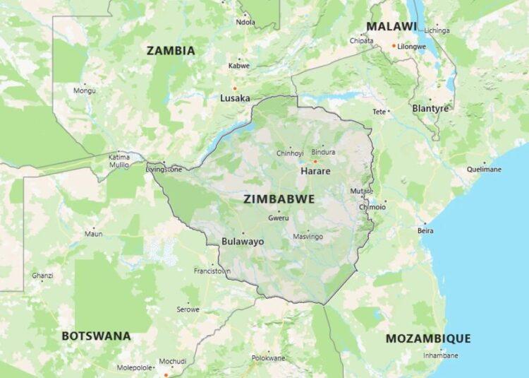 Zimbabwe Map with Surrounding Countries